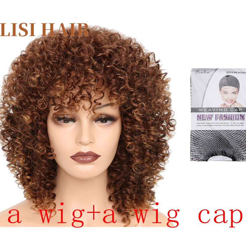 """Image 4 - LISI HAIR 18"""" Medium brown color heat resistant synthetic hair wigs for black woman African hairstyle short curly wigSynthetic None-Lace  Wigs   -"""