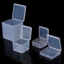 Квадратная пластиковая прозрачная коробка для хранения Контейнер для ювелирных бус рыболовные инструменты, аксессуары коробка мелкие предметы мелочи Органайзер чехол