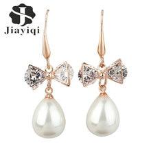 Jiayiqi(Jiay) Dangle Earring Bow Gold Colore Cubic zirconia Pearl Drop Earring Charm Jewelry Long Earrings for Women Accessories