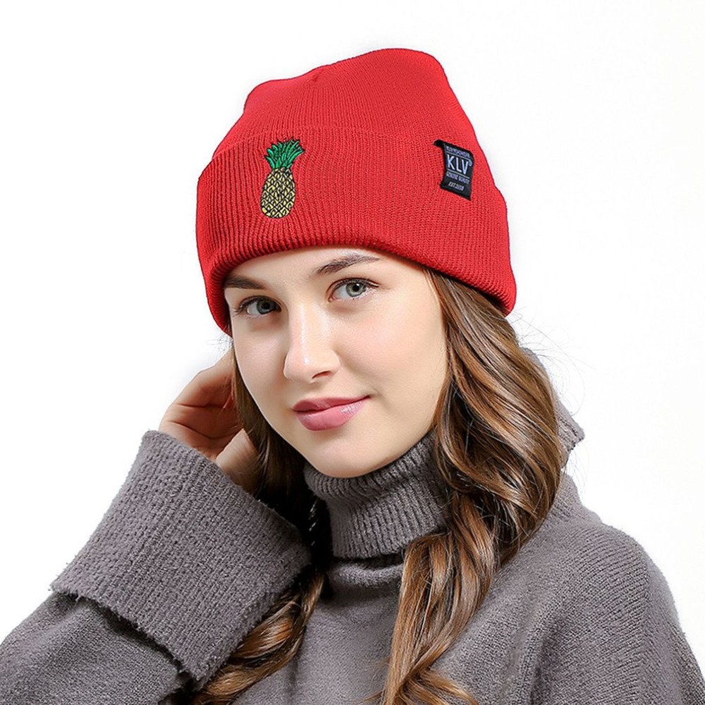KLV Fashion Casual Women Beanies Skullies Autumn Winter Warm Knitted Hats Pineapple Pattern Embroidered Lovely Caps New Gorros 2016 new beautiful colorful ball warm winter beanies women caps casual sweet knitted hats for women outdoor travel free shipping