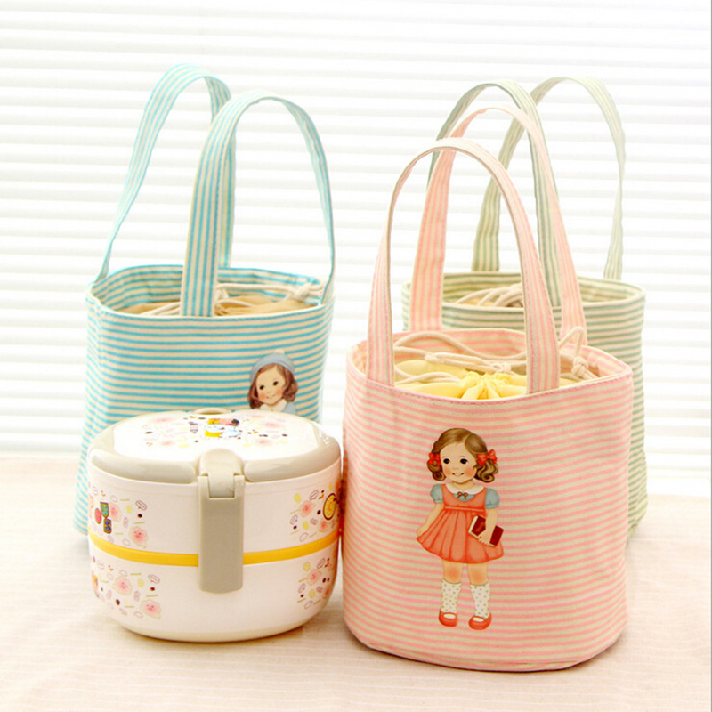 Cute Portable Insulated lunch Bag Thermal Food Picnic Lunch Bags for Women kids Men Cooler Pouch Lunch Container D