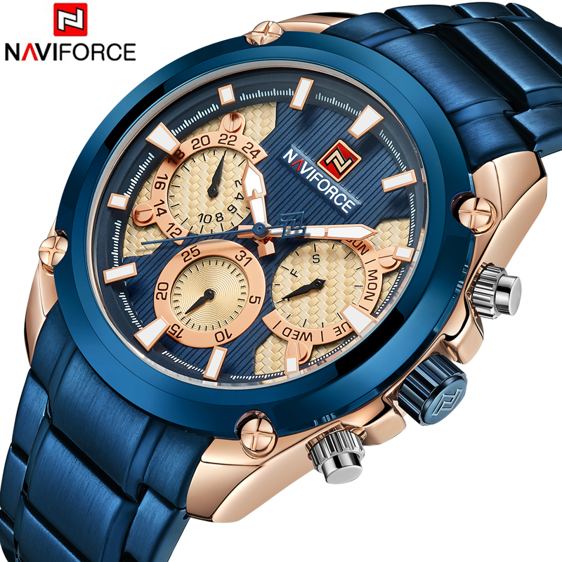 <font><b>NAVIFORCE</b></font> Fashion Watch Men Waterproof Mesh Steel Strap Wrist Watches Men Quartz Sports Watch Male Clock Relogio Masculino image