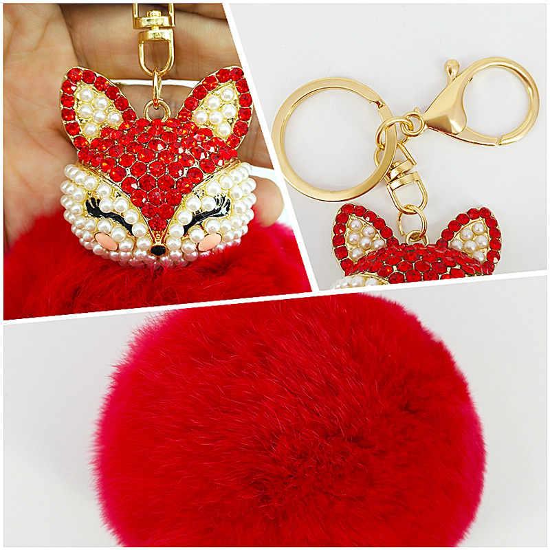 Bonito raposa pokemon chaveiro artesanal coelho pele pompom bola incrustada strass saco pingentes decoração jóias encantos chaveiros