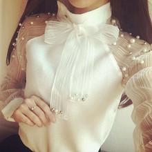 Топы, новинка, модная женская блуза, женская летняя кружевная шифоновая белая блузка, рубашки с длинным рукавом и милым бантом, топы, блузки