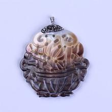 charms chinese pattern hollow black shell shellfish pave rhinestone one button font b pendant b font