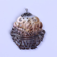 charms chinese pattern hollow black shell shellfish pave rhinestone one button pendant necklace for jewelry making DIY material