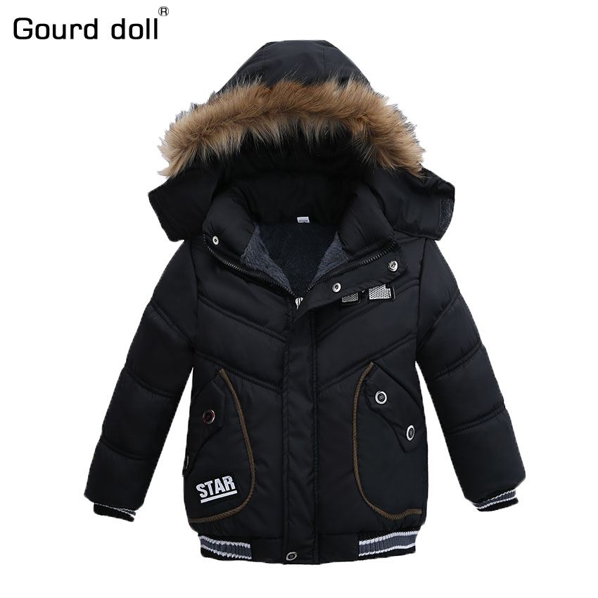 2-5T Fashion 2017 Winter Jacket For Boys Parkas Children Outerwear Coat Hooded Jacket Kids Warm Cotton-Padded Clothes Boy Jacket children kids boys winter windproof padded jacket hooded jacket ski jacket high quality size 116 140