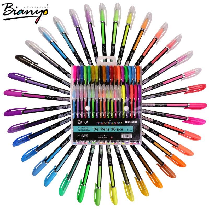 Bianyo 36Color/Set Glitter Highlight Pen for Children School Art Supplier, Finecolour Neon Art Marker Gel Pen for Artist Design