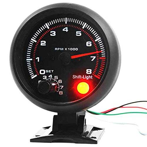 Universal 3.75 inch 12V White LED Backlit Tachometer Gauge with Red Shift Light for Auto Gasoline Car  0 8000 RPM|Tachometers| |  - title=