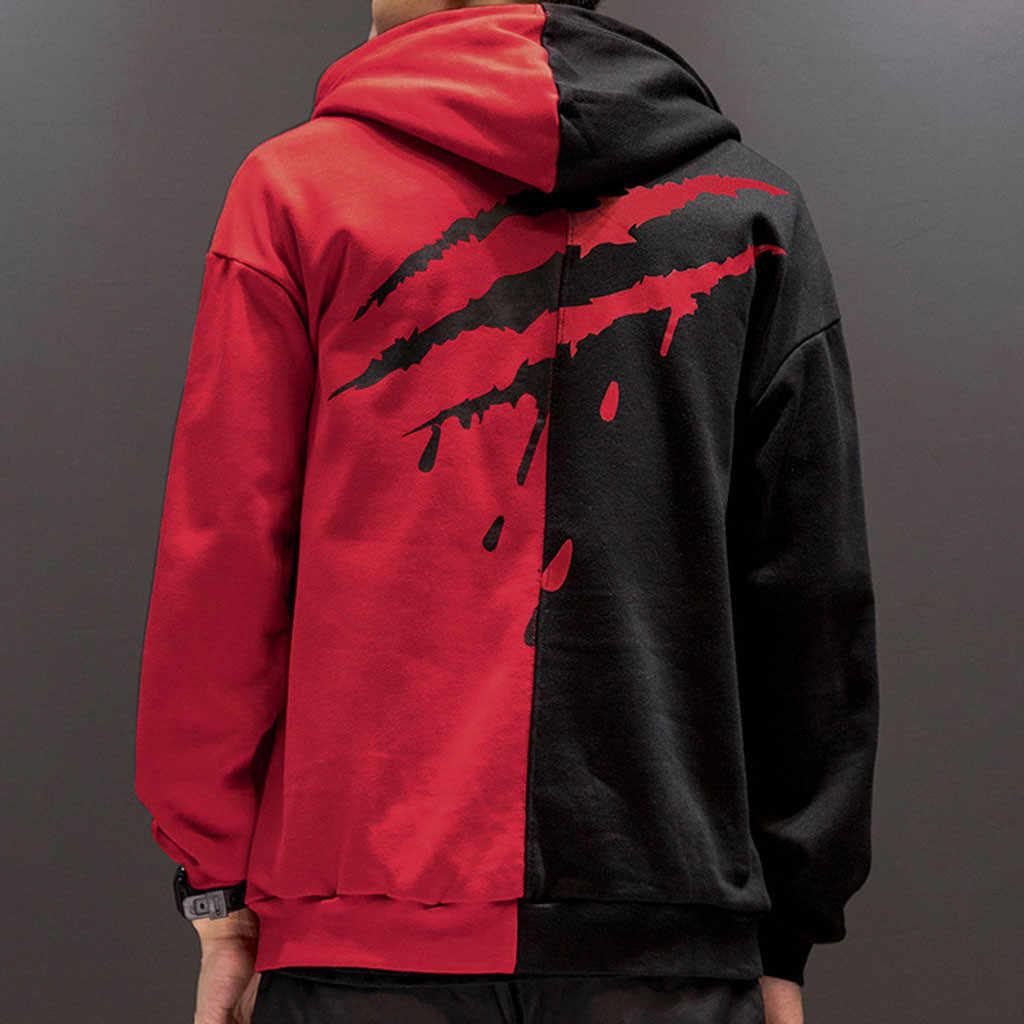 CHAMSGEND для мужчин Мода paw prints colorblock одежда с длинным рукавом свитер капюшоном Свободная Повседневная Толстовка training спортивная куртка плюс размеры