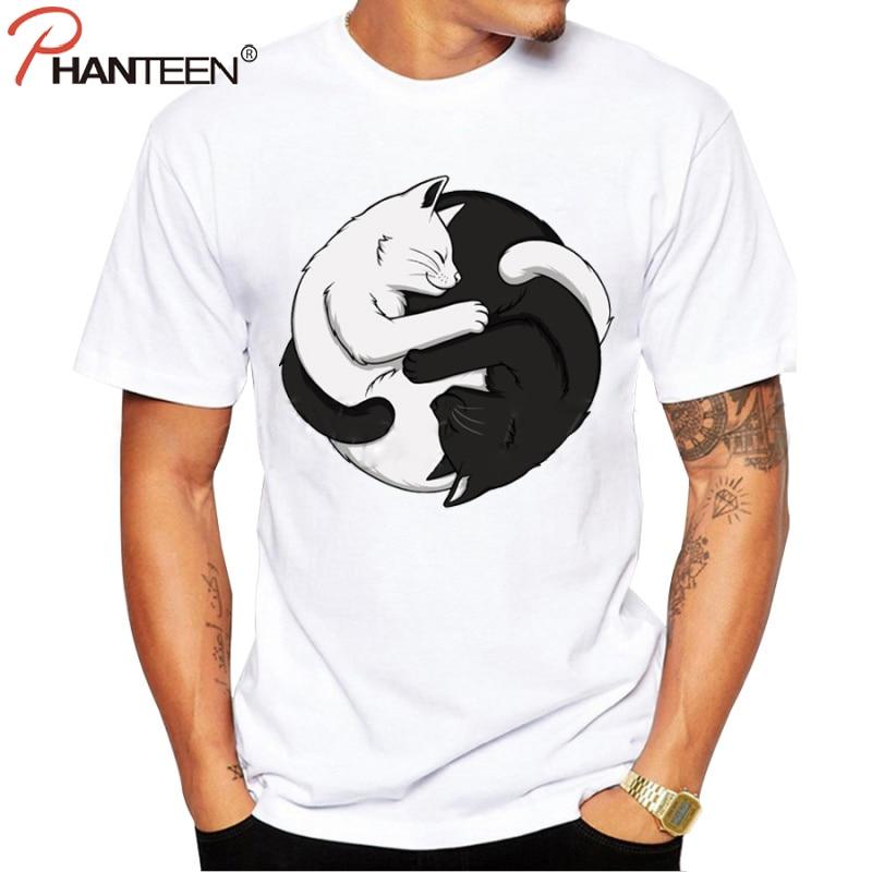 Phanteen summer short sleeve man t shirts cartoon white for Black and white short sleeve shirts