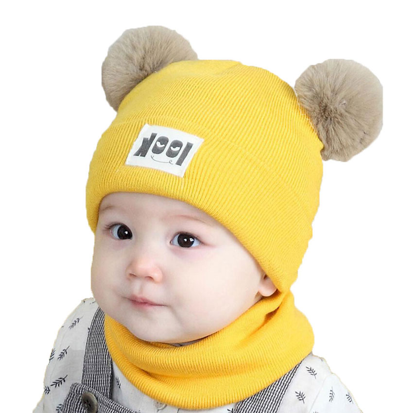 Baby Cap Set Girl Cotton Hat And Scarf Sets For Kids Boys Knit Pom Pom Beanies Cap Ring Scarves Autumn Winter Warm 2 Pcs Suit