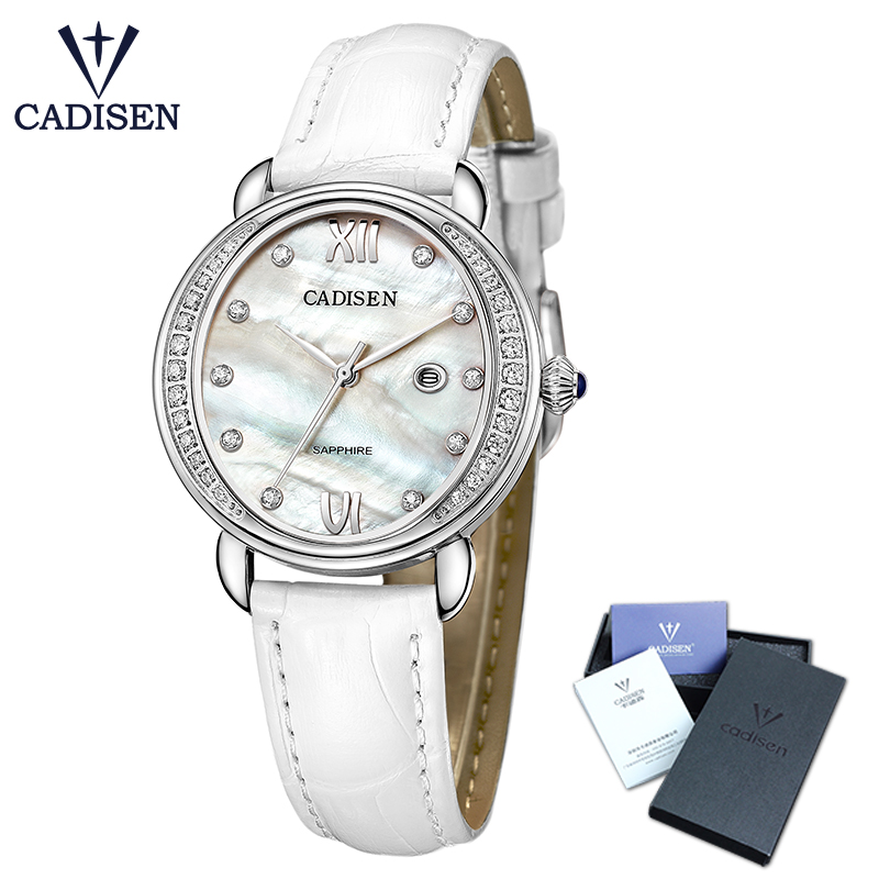 CADISEN Top Women Watch luxury business fashion elegant diamond studded water resistant analogue lady watch leather