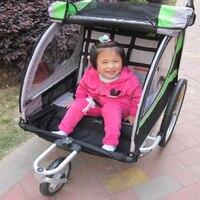 2 in1 20 дюймов Air Надувное резиновое колесо алюминий сплав рамки двойной ребенок велосипед прицепы с дождевик, дети Jogger Коляска
