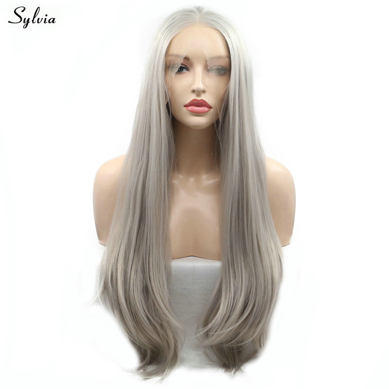 Hair Extensions & Wigs Sylvia Long Hair Water Wave Synthetic Lace Front Wigs Brown Ombre Blond Color Hair Natural Hairline For White Women Cosplay Hair Professional Design