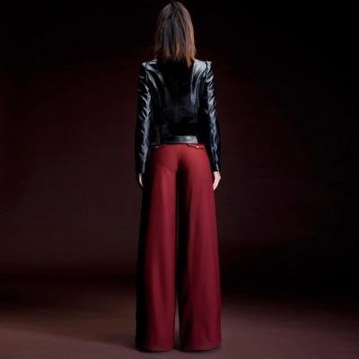 Patas Tamaño Ol Carrera Pantalones Wine 2015 Moda Pantalones Más Rojo Cintura Mujer Largos Alta Rectos Red Slim UxEqBw6nCq