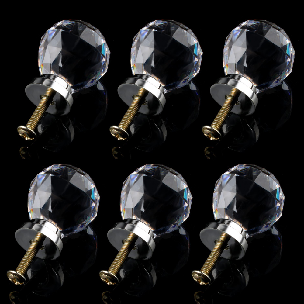 6 x Crystal Glass Clear Door Knobs / Handles 30mm Drawer Kitchen Silver css clear crystal glass cabinet drawer door knobs handles 30mm