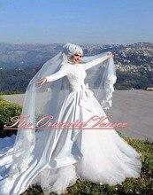 Middle East Muslim Wedding Dress with Hijab Veil High Neck Full Sleeves Arabic Dubai Wedding Gowns Chapel Train Robe de Marriage
