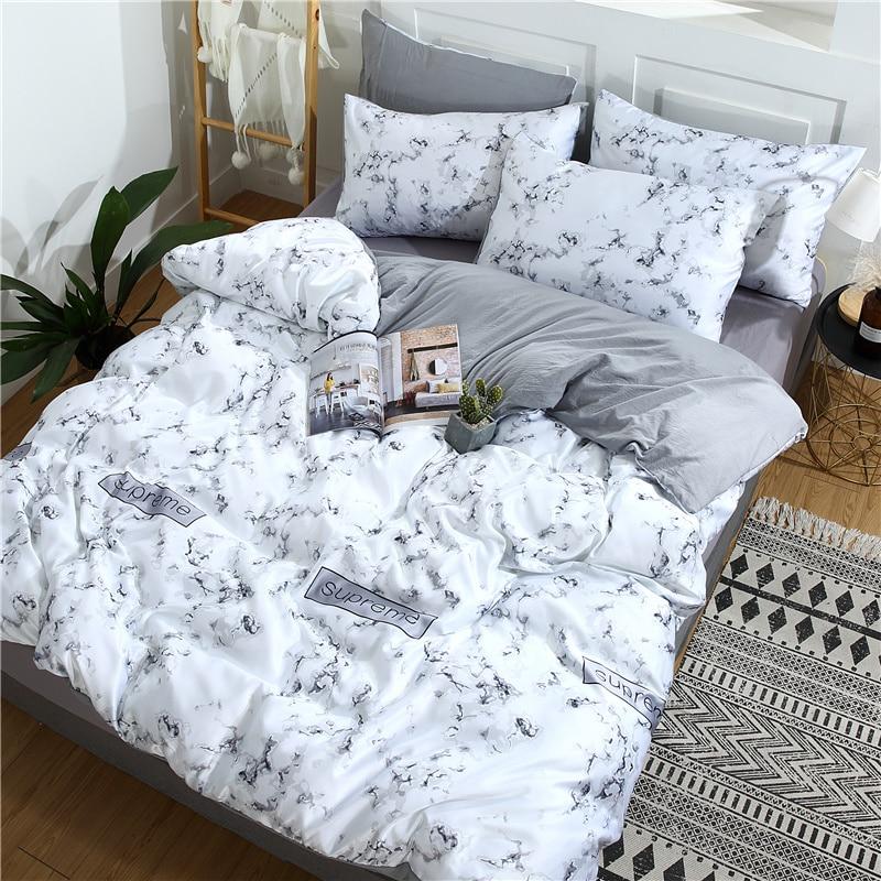 Soie lavée confortable AB côté literie ensemble Double reine roi taille drap de lit taies d'oreiller Nature housse de couette marbrure