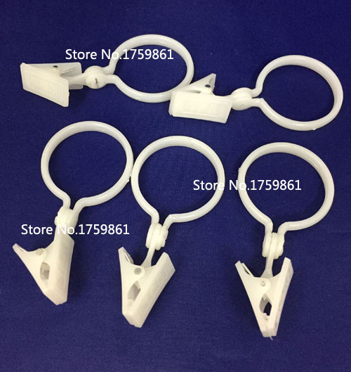 30pcs High quality plastic white color  Curtain hook  Clips Window Shower Curtain Rings Clamps Drapery Clips