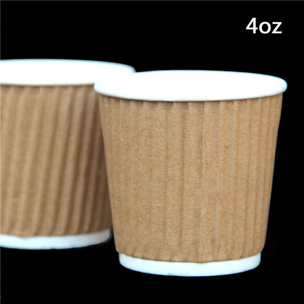 100pcs 4 Oz Kraft Tripple Ripple Wall Disposable Paper Coffee Cups Only