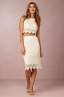Sexy Summer Beach Wedding Dress Two Pieces Sheath Short Wedding Dresses Summer Style Knee Length Cheap