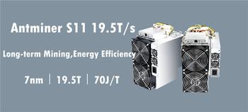 BITMAIN AntMiner S11 19 5T BCH BTC górnik lepiej niż S9 S9j S15 T9 + S17 T17 S17e S17 + WhatsMiner M3X M20S Innosilicon T2T Ebit tanie i dobre opinie YUNHUI 10 100 1000 mbps 10KG 1365W+3 Used Antminer S11 19 5TH S