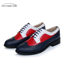 100% Genuine cow leather brogue men flats shoes handmade vintage casual shoes oxford shoes for men red blue white US 10
