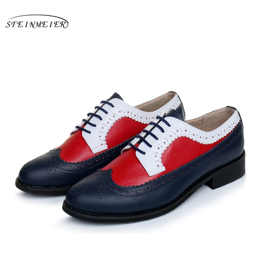 100% Genuine cow leather brogue men flats shoes handmade vintage casual shoes oxford shoes for men red blue white US 10 vintage casual handmade 100
