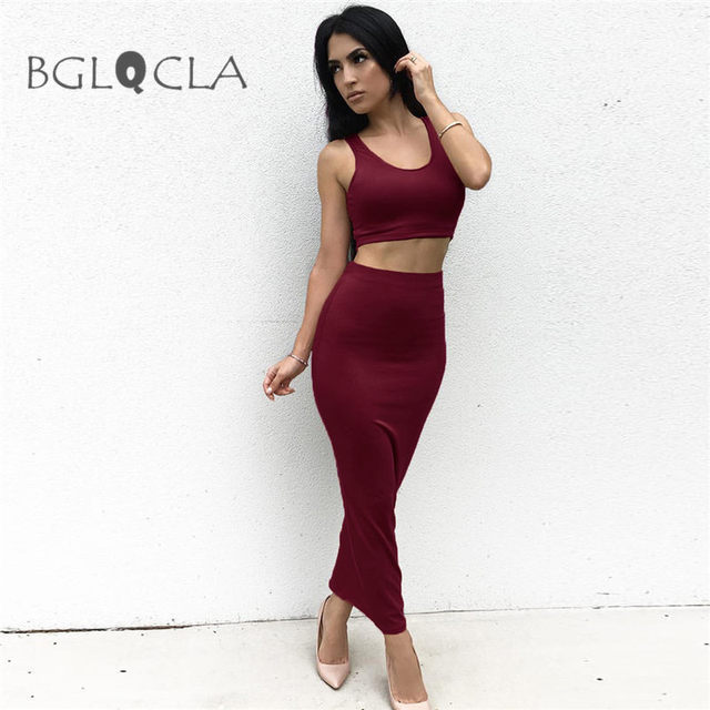 4e6c79016e9 2 Piece Set Women Maxi Skirt Tanks Cropped Tops Solid Casual Women s Sets  Clothing Crop Top Pencil Skirts Suit Two Piece Set