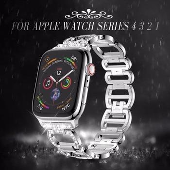 Ze stali nierdzewnej stalowy pasek na pasek do Apple Watch Rhinestone diament zespoły 38mm 42mm serii 3 2 1 do zegarka Apple Watch 40mm 44mm seria 4 5