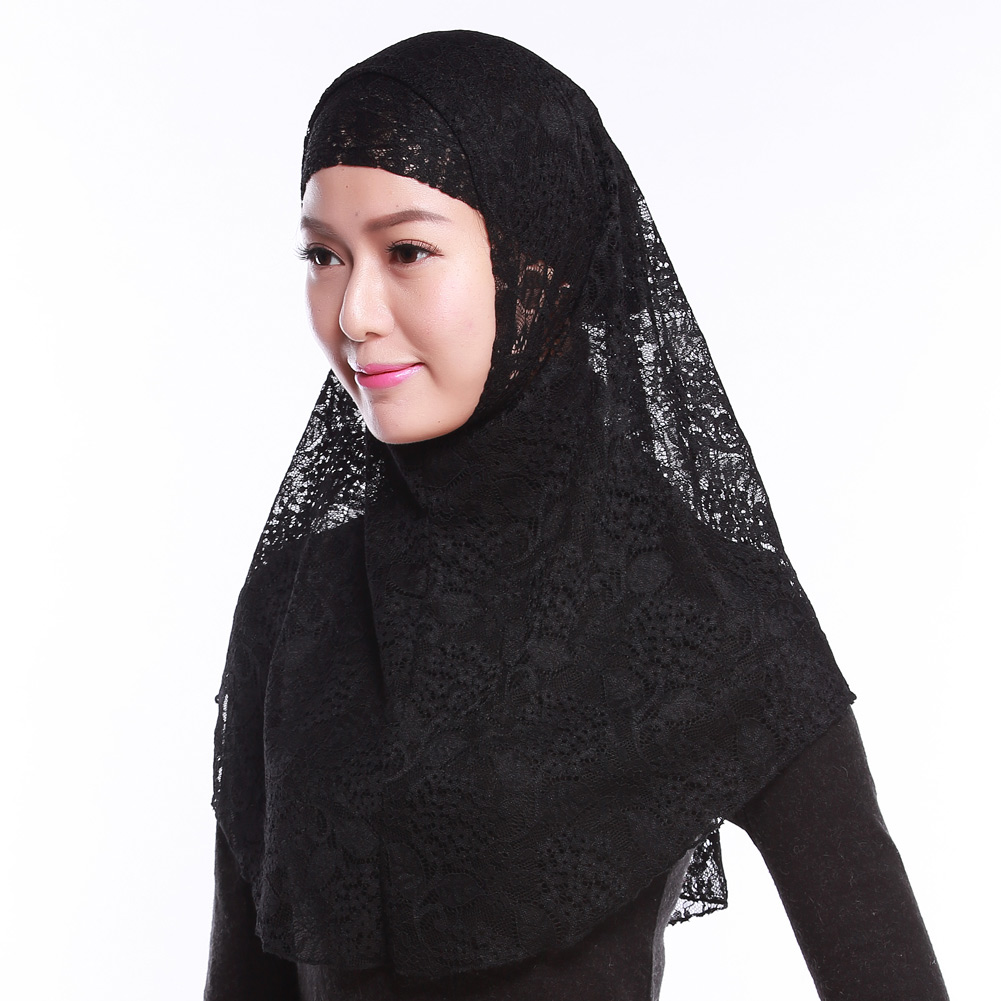 b57d7085 Full Cover Muslim Hat Hijab Two Piece Set Lace Hoofddoek Moslima Solid  Islamic Head Turbans For Women Cap Beanies Arab Scarfs-in Islamic Clothing  from ...