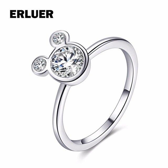 Fashion Rings For Women Girl CZ Cubic zirconia Wedding Mickey Shape Finger Ring