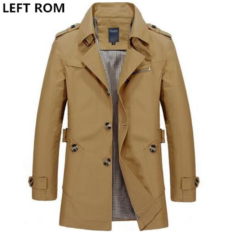 LEFT ROM Fashion <font><b>men</b></font> are upscale in winter <font><b>slim</b></font> Fit Casual trench coat/male pure color Pure cotton long jackets