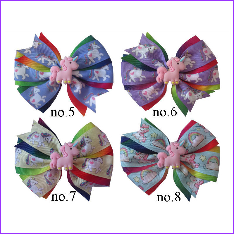 20 BLESSING Girl 4.5 Two Tone Wendy Hair Bow Clip Rainbow Unicorn Pony Hairbow