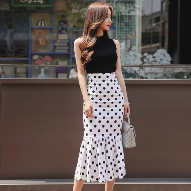 2019 Summer Ruffle Two Pieces Set Fashion Polka Dot Skirt Suits Elegant Sleeveless Knitted Tank Tops and High Waist Skirts Sets