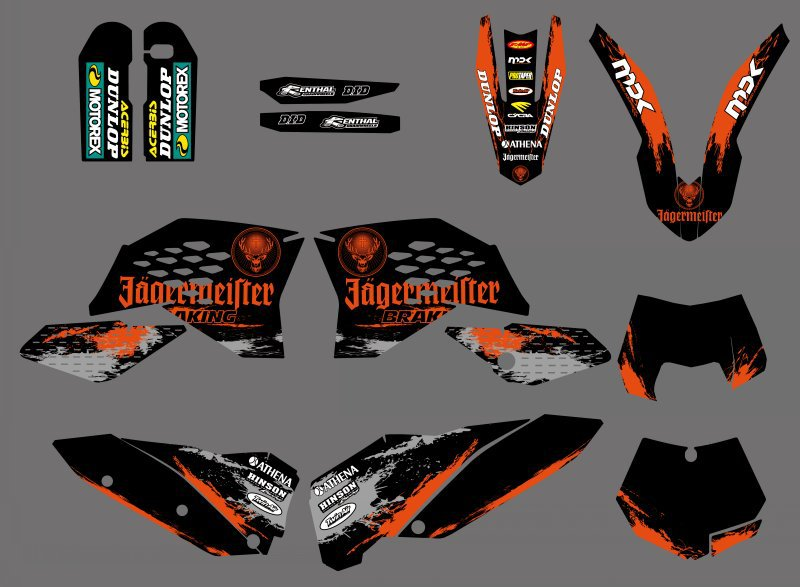 GRAPHIC WITH MATCHING BACKGROUNDS Sticker For KTM 125 200 250 300 350 400 450 500 525 530 SX SXF SX-F 2007-2010 EXC XC 2008-2011