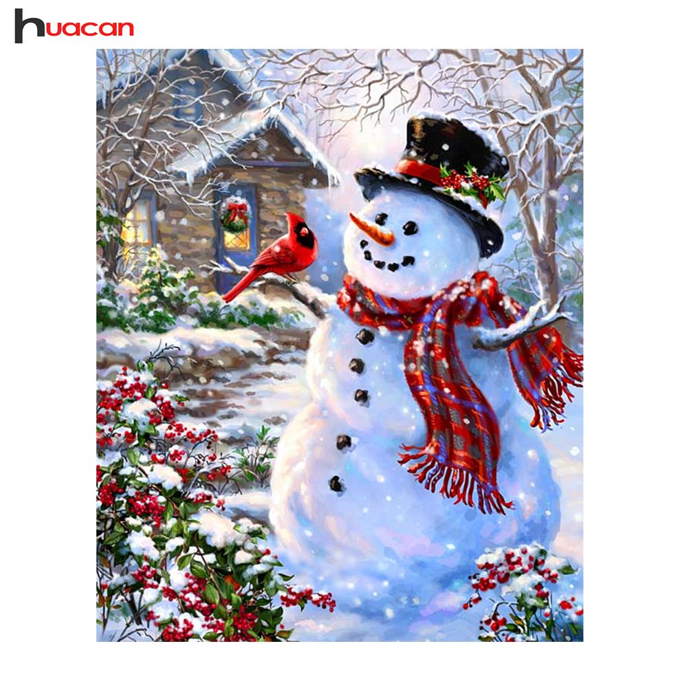 Huacan Snowman Diamond Painting Cross Stitch Diy Diamond
