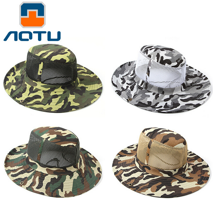 f636b14e967 AOTU Summer Bucket Hat Hunting cap Bump Outdoor Camouflage Hat Fishing Hats  Sunbonnet Breathable Mesh Sun Cap