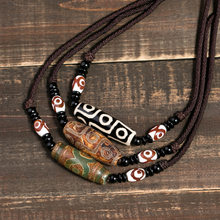 efa6b9420 Collar con colgante de Onyx tibetano Natural 3 ojos Dzi collar de  gargantilla de cadena de cuerda ajustable para mujeres y hombr.