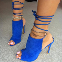Cross-tied lace up sandals for woman
