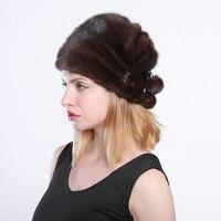 Best seller of mink fur hats From Natural Skin natural fur mink hat for winter women Russian fur hat Fashion Warm winter Black f