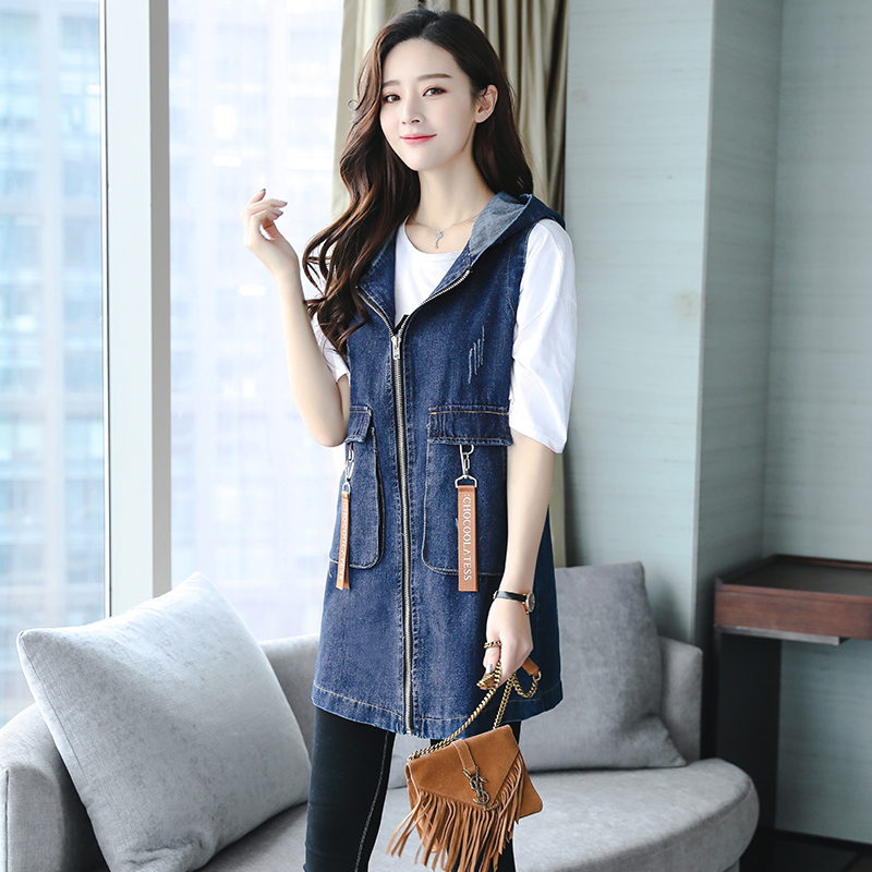 Summer Denim Trench Coat Female Fashion Embroidery Women Trench Plus Size Denim Vest Hooded Long Sleeveless Coat Women