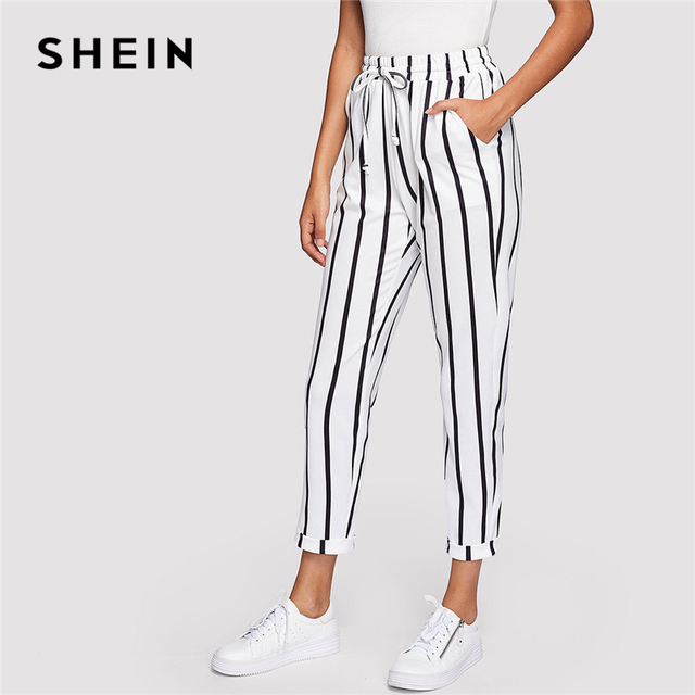 04a950e4aa SHEIN Black and White Casual Drawstring Waist Striped High Waist Tapered  Carrot Pants Summer Women Going