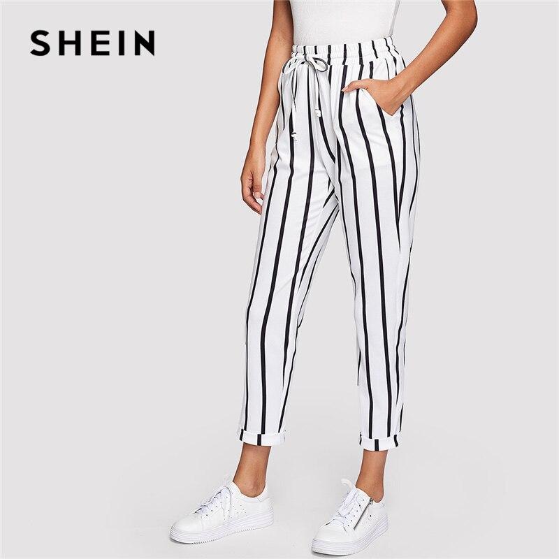 SHEIN blanco y negro Casual cordón cintura rayado cintura alta cónico zanahoria pantalones verano mujeres salir Pantalones