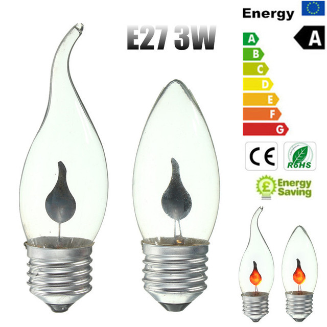 3W E27 LED Energy Saving Retro Fire Flickering Flame Candle Tail ...