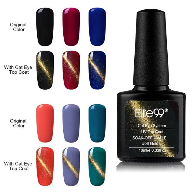 Elite99 1 pcs Cor do Ouro Magnético Top Coat Polonês Soak Off UV Unhas de Gel Olho de Gato Olhos de Gato Gel top Coat laca All-matched 10 ml