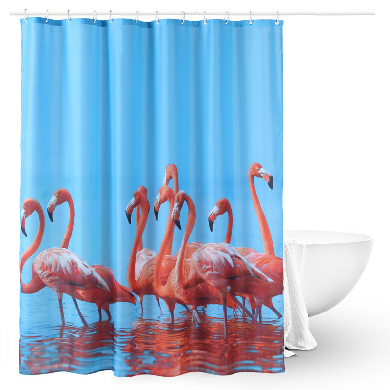Flamingo Shower Curtain Polyester Waterproof Bathroom Curtain Printing Curtain Partition 180*180cm Single (Matching Hook)