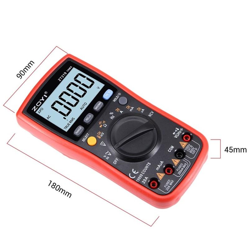 Tools : ZT219 True-RMS 19999 Counts Digital Auto Range Multimeter NCV Frequency Auto Power off AC DC Voltage Ammeter Current Ohm