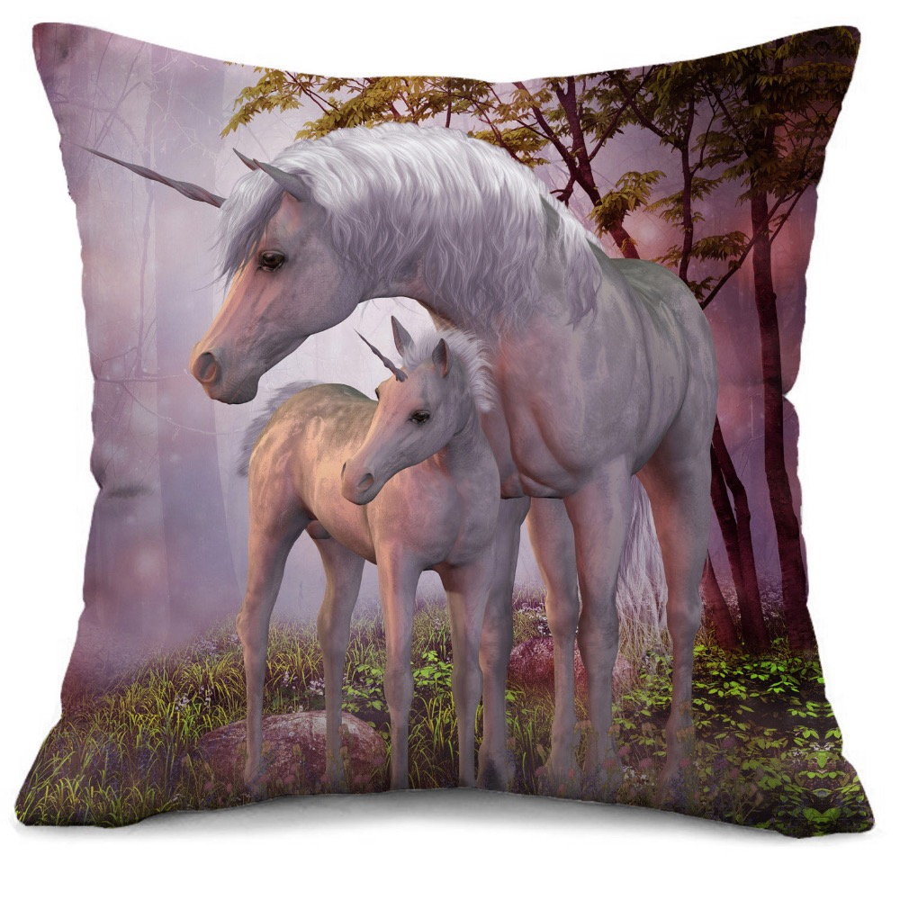 Brand Goldeny Mother and Baby Unicorn Children 3D cushion cover Sofa cushion cover Throw Cushion Cover Girls cushion Cover